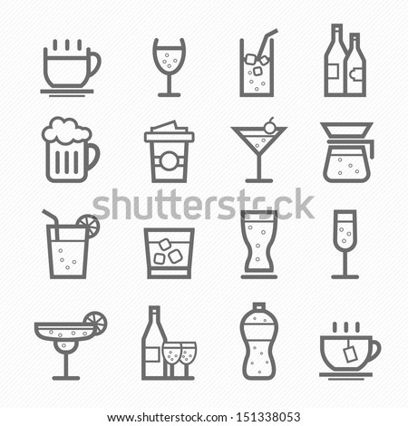 Beverage symbol line icon on white background vector illustration - stock vector