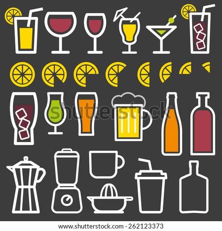 Beverage vector thin line symbol icon  - stock vector