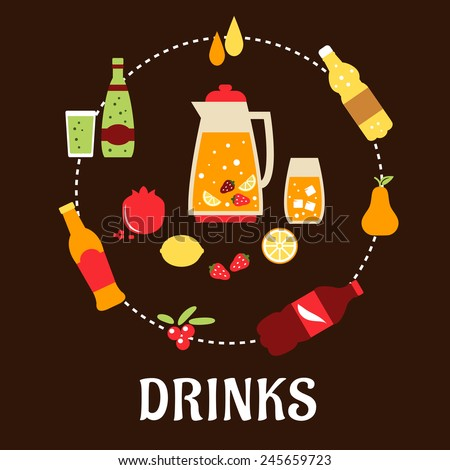 Beverages and drinks flat composition with juice, beer, tea, soda, cocktail and mineral water - stock vector