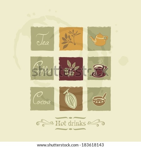 Beverages elements for tea, coffee and cocoa on stained background. No fonts and no transparencies. - stock vector