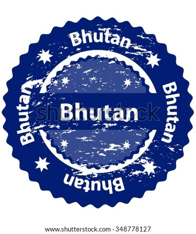 Bhutan Country Grunge Stamp - stock vector