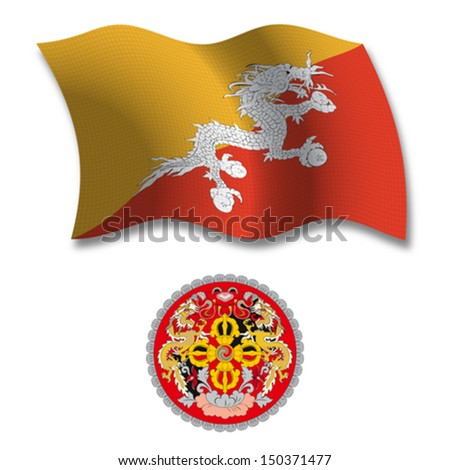 bhutan shadowed textured wavy flag and coat of arms against white background, vector art illustration, image contains transparency transparency - stock vector