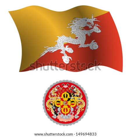 bhutan wavy flag and coat of arms against white background, vector art illustration, image contains transparency - stock vector