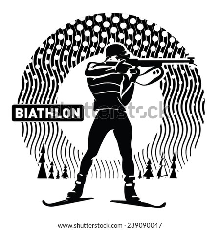 Biathlon. Vector illustration in the engraving style - stock vector