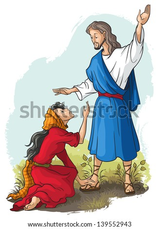 Bible stories. Jesus to Mary of Magdalene. Christian vector art illustration. Also available raster version - stock vector