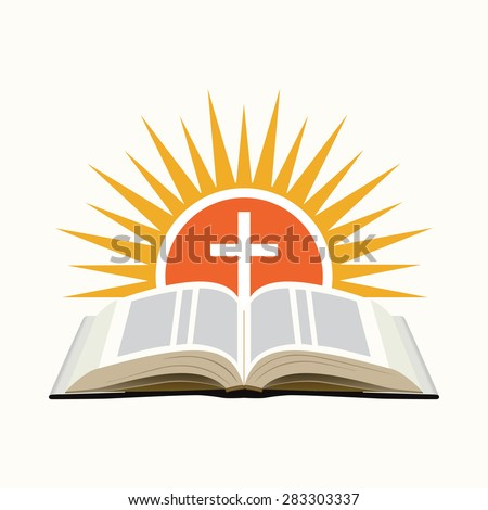 Bible, sunset and cross. Church logo concept. Isolated on white background. Vector illustration - stock vector