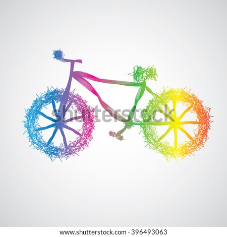 bicycle abstract colorful - stock vector