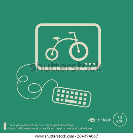 Bicycle and flat design elements. Line icons for application development, web page coding and programming, web design, creative process, social media, seo. - stock vector