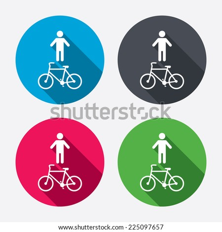 Bicycle and pedestrian trail sign icon. Cycle path symbol. Circle buttons with long shadow. 4 icons set. Vector - stock vector