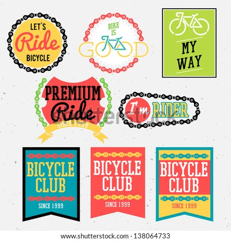 bicycle badges bicycle club badges colorful collection - stock vector