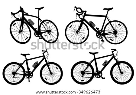 Bicycle cycling bike set collection silhouette group vector background detailed illustration isolated over white - stock vector