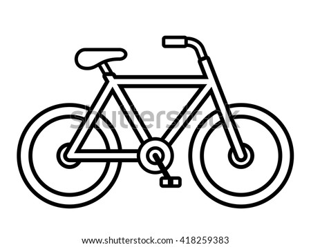 Bicycle fixie outline drawing viewed from the side isolated over white, vector illustration - stock vector