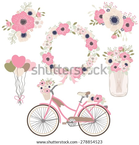 Bicycle flower / wedding flower / decor element / mason jar / spring color - stock vector
