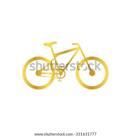 bicycle - gold vector icon - stock vector