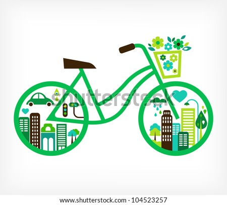 Bicycle Green City - stock vector