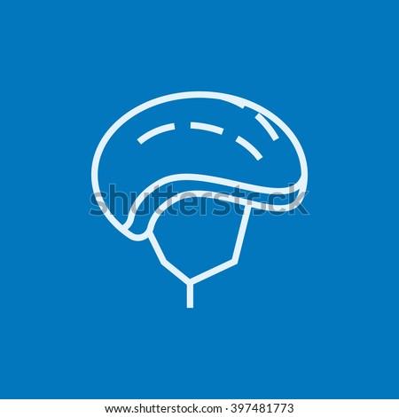 Bicycle helmet line icon. - stock vector