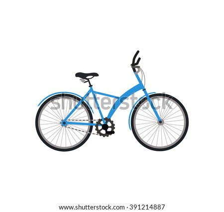 Bicycle icon design flat isolated. Bike and blue bycicle, cycling race sport. Mountain bicycle, travel bicycle vector illustration - stock vector