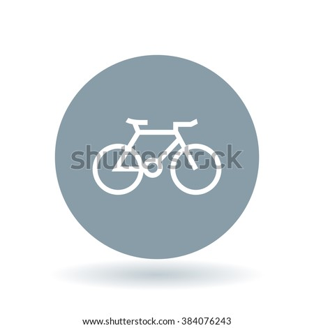 Bicycle icon. mountain bike sign. Cycle symbol. White bicycle icon on cool grey circle background. Vector illustration. - stock vector