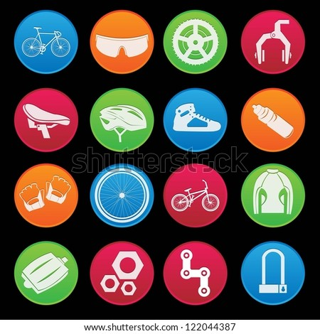 Bicycle modern icon set - stock vector