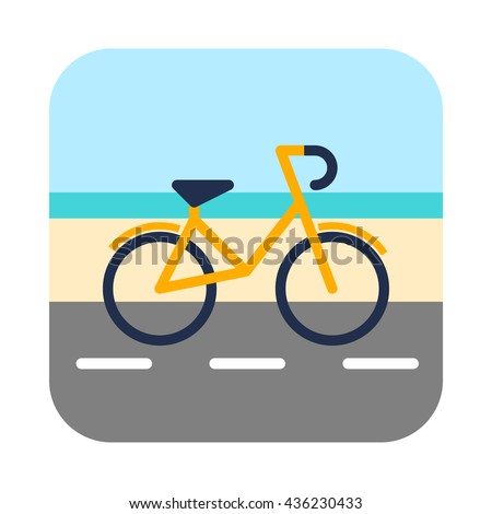 Bicycle on a bike lane in front of sea.  Coloured flat vector illustration   - stock vector