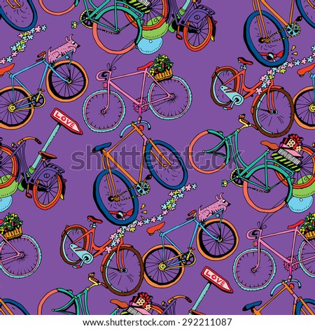 Bicycle Pattern on purple background. Seamless. - stock vector