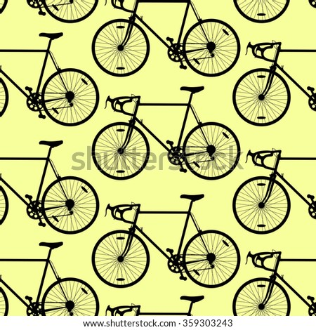 Bicycle pattern wallpaper vintage retro vector background concept yellow - stock vector
