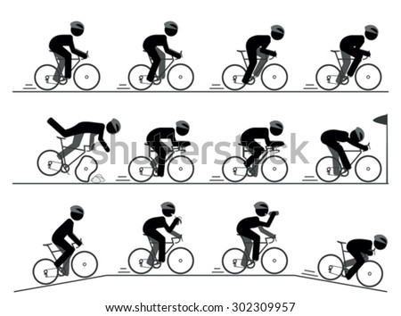 Bicycle racing pictogram - stock vector