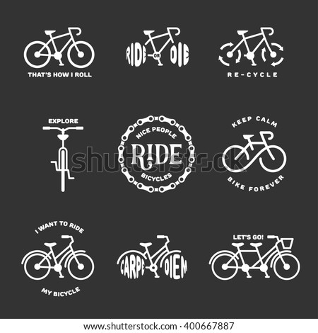 Bicycle related typography set. Motivational quotes about cycling. I want to ride my bicycle. Nice people ride bicycles. Keep calm and bike forever. Bicycle icons. Vector vintage illustration. - stock vector