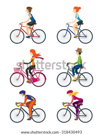 Bicycle Riders, Man, Woman, People, Lifestyle, Cycling, Riding, Relax, Sport - stock vector