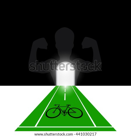 Bicycle road sign with strong health concept ,vector. - stock vector