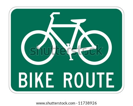 Bicycle Route Guide sign on white - stock vector