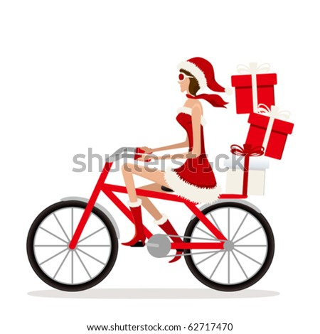 Bicycle Santa Girl. Illustration vector. - stock vector