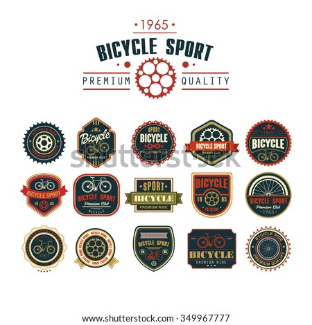 Bicycle set badges logos and labels for any use - stock vector