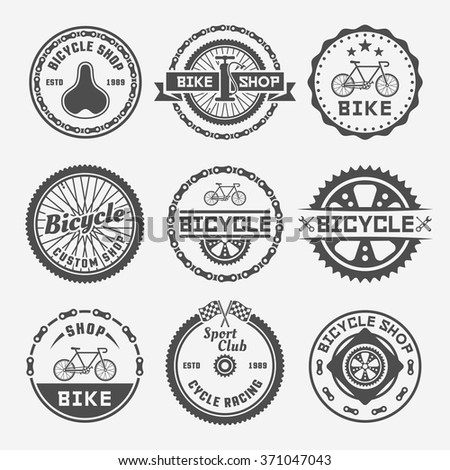 Bicycle shop set of monochrome vector round labels, badges, emblems and logos in vintage style on gray background. Bike repair. Bicycle custom shop. Cycle racing sport club - stock vector