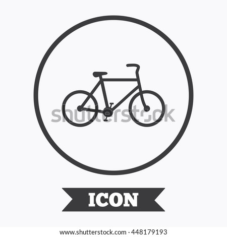 Bicycle sign icon. Eco delivery. Family vehicle symbol. Graphic design element. Flat symbol in circle button. Vector - stock vector