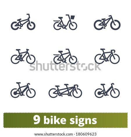 Bicycle signs: vector set of simple bike icons - stock vector