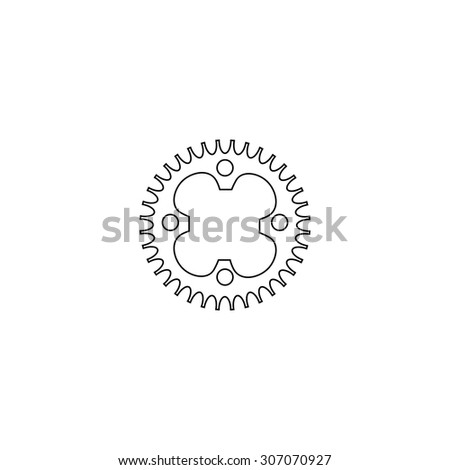 Bicycle sprocket. Outline black simple vector pictogram - stock vector