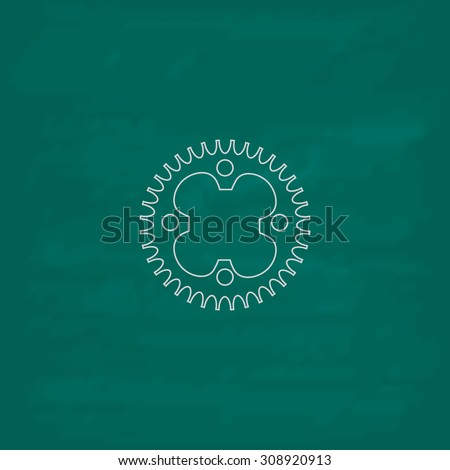 Bicycle sprocket. Outline vector icon. Imitation draw with white chalk on green chalkboard. Flat Pictogram and School board background. Illustration symbol - stock vector