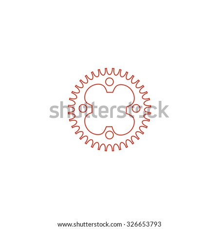 Bicycle sprocket. Red outline vector pictogram on white background. Flat simple icon - stock vector