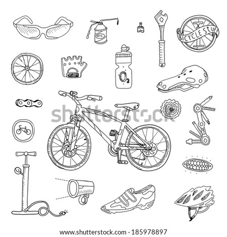 Bicycle stuff. Doodle set in vector isolated on a white background. - stock vector