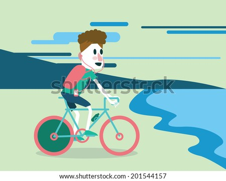 Bicycle tourist riding on the beach. vector illustration - stock vector