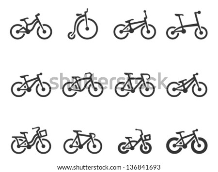 Bicycle type icons in single color - stock vector