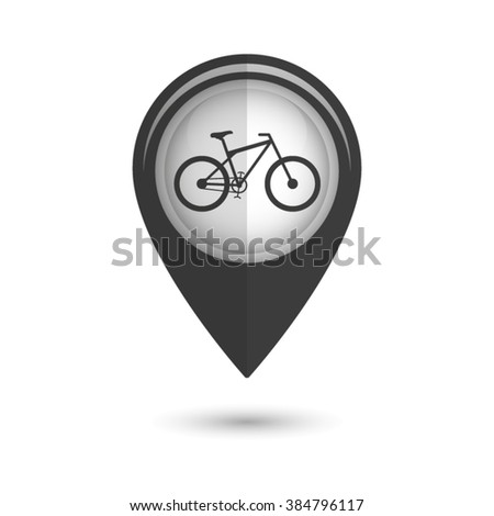 bicycle - vector icon;  black map pointer - stock vector