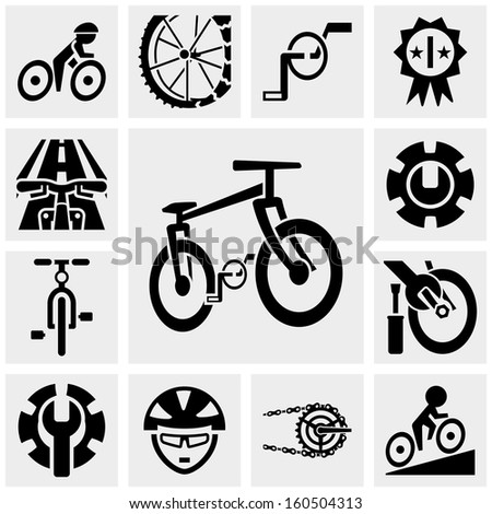 Bicycle vector icons set on gray  - stock vector