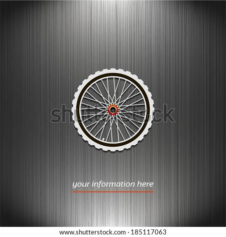 Bicycle wheel, icon on a dark texture background for your design - stock vector