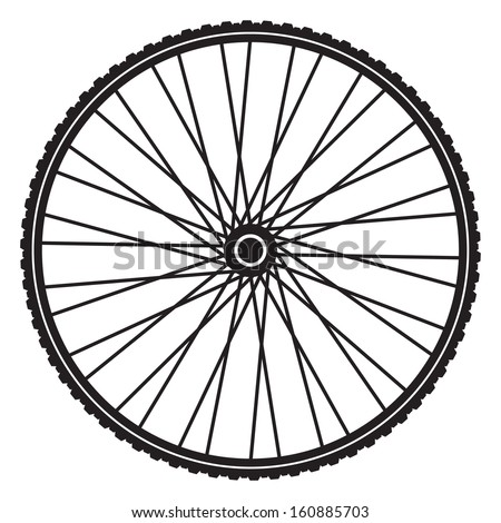 Bicycle wheel, vector format - stock vector