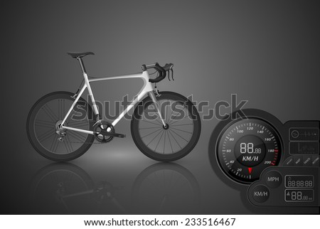 Bicycle with a speedometer,vector - stock vector