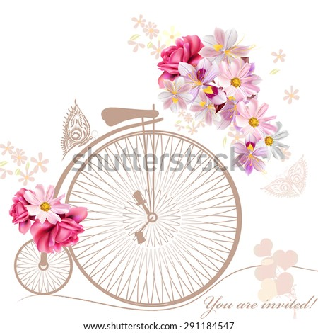Bicycle with basket fully of  flowers and butterflies around it - stock vector