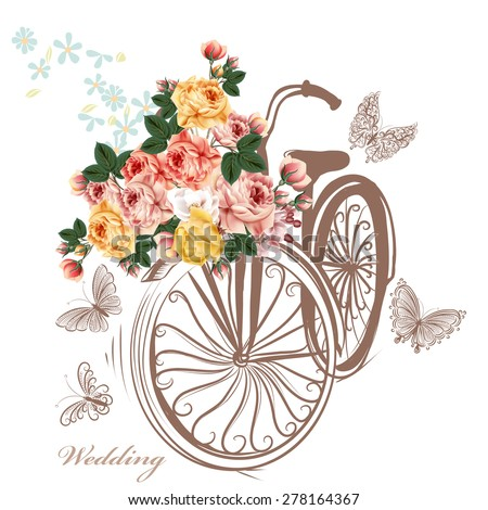 Bicycle with basket fully of rose flowers and butterflies around it. Cute vector illustration with bike and beautiful rose flowers. Ideal for invitation design, save the date, wedding and other - stock vector