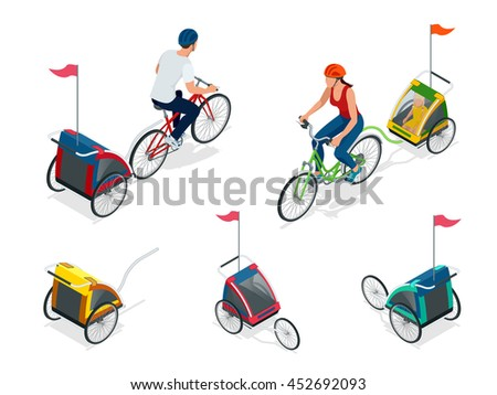 Bicycle with child carrier. Isometric Bicycle. Family Cyclists. Vector illustration. - stock vector